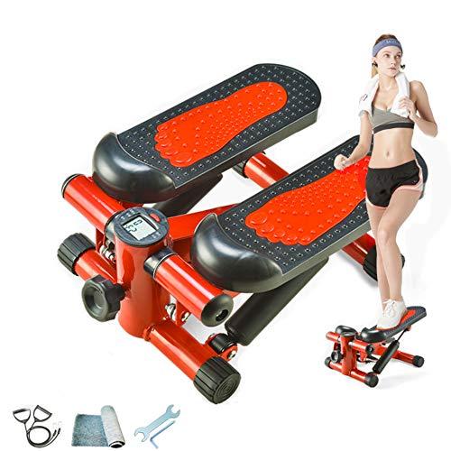 YDDHQ Step Mini Stepper, Twister Stepper Multifunktions-Mute Lady Stepper mit LED-Anzeige Maximale Belastbarkeit 200 kg -Ofenrohr zum Hüftheben - Rot
