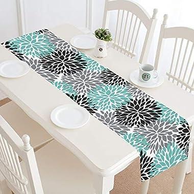 InterestPrint Dahlia Pinnata Flower Teal Black Gray Table Runner Linen & Cotton Cloth Placemat Home Decor for Wedding Banquet Decoration 16 x 72 Inches