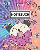 Notizbuch: Blanko Gefüttertes Notizheft   Liniert Heft   Perfekt als Notizbücher Notizblock Tagebuch   Donut Sorge Kawaii Katze Doodle