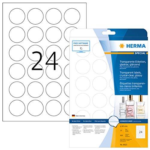 HERMA 8023 Wetterfeste Folien-Etiketten DIN A4 transparent (Ø 40 mm, 25 Blatt, Polyesterfolie, glänzend, rund) selbstklebend, bedruckbar, permanent haftende Klebefolie, 600 Klebeetiketten