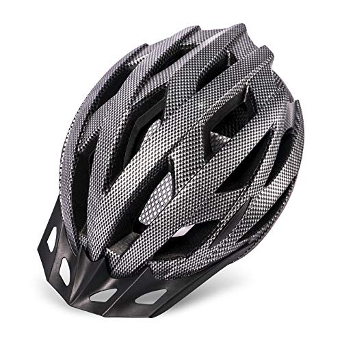 Adult Bike Helmet with LED Light, Mountain Road Bicycle Helmet with Detachable Visor and Lining for Men and Women, 22.05-24.41 Inches - Black Carbon