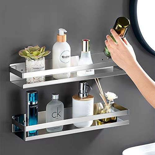 Spice rack 304 stainless steel kitchen storage rack wall-mounted for spices seasoning bottles jam storage racks used in homes and kitchens1 Pack Silver 30cm