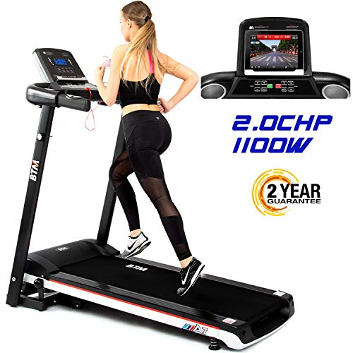 BTM A7 Motorised Electric Treadmill Folding Running Machine 2019 Digital Control 2.0CHP Motor Up To 12.8km/h 15 Programmes Walking Machine Portable Gym Equipment For Fitness Workout