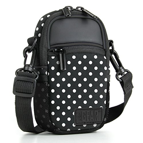 USA Gear Kompaktkameratasche (Polka Dot) mit Zubehörtaschen, Regenhülle und Schultergurt, kompatibel mit Sony CyberShot, Canon PowerShot ELPH, Nikon Coolpix und mehr