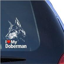 I Love My Doberman Clear Vinyl Decal Sticker for Window, Dobermann Pinscher Sign Art Print