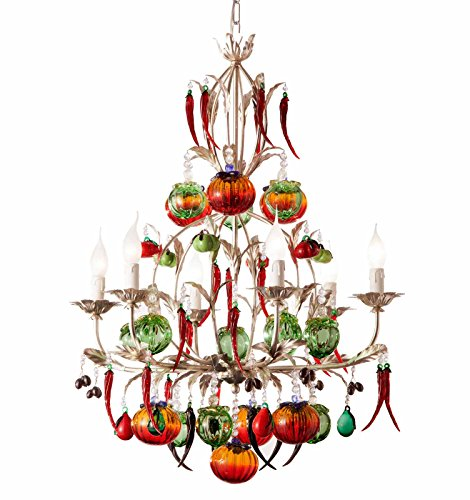 Murano Früchte Murano Glas Kristall Kronleuchter in Blattsilber mit Patina multicolour | Handgefertigt in Italien | Luster Landhaus Klassisch Dimmbar | Lampe E14