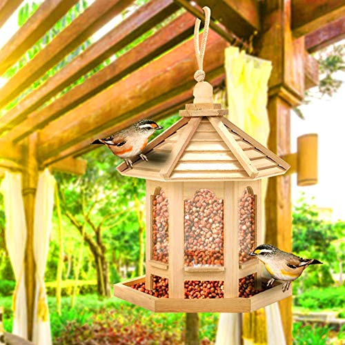 LPxdywlk Mangeoire à Oiseaux, Hanging Bird Feeder House Seeds Container Dispenser Container Outdoor Feeding Tool Durable, Easy to Use, Portable en Bois