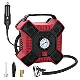 INCLAKE 12V DC Tire Inflator for Car, Portable Air Compressor Pump with Analog Pressure Gauge and LED Light for Bicycle, Motorcycle, Basketball and Other Inflatables, Red