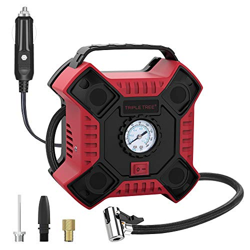 INCLAKE 12V DC Tire Inflator,Portable Air Compressor Pump with Analog Pressure Gauge and LED Light for Car, Bicycle,Motorcycle, Basketball,and Other Inflatables,Red