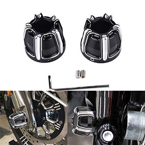 TUINCYN Cache-écrous en Aluminium pour Moto Harley Sportster Softail Fat Boy Dyna V-Rod Touring Street Glide Noir/chromé(Lot de 2)