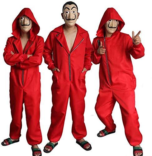 Cosplay La Casa De Papel Kostuum Dali Rood Een Stuk Rode Jumpsuit + Masker Kostuum/Halloween Kostuum/Party Dress Up voor Unisex Volwassen Kinderen