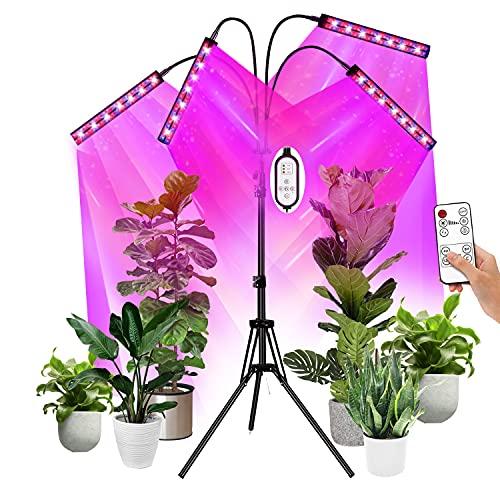 Lámpara de Planta,EEIEER Cultivo LED 40W 216 LEDs Lámpara LED Cultivo 4 Cabezales 2 Hileras Lámpara de Crecimiento LED Luz para Plantas de 10 Niveles Regulable y 360°Ajuste con Función de Temporizador