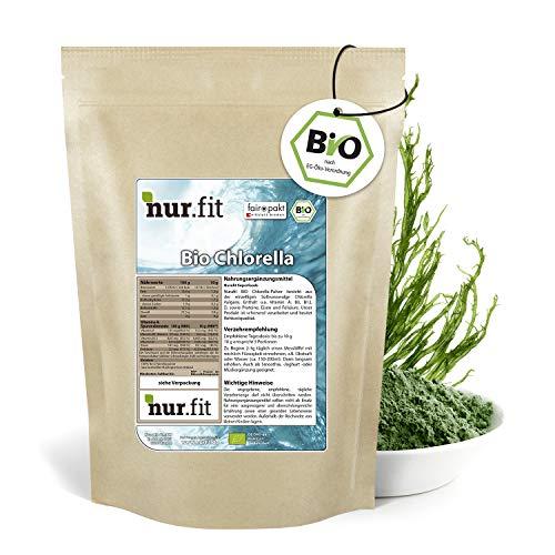 nur.fit by Nurafit BIO Chlorella Pulver 500g – rein natürliches Pulver aus Chlorella Algen ohne Zusatzstoffe aus kontrolliert biologischem Anbau – Superfood in Rohkostqualität für grüne Smoothies