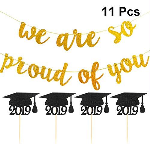 Amosfun 11 stks Glitter Golden We zijn zo trots op U Banner 2019 Graduation Cupcake Toppers Graduation Bunting Class van 2019 Decoratie voor Graduation Party Supplies