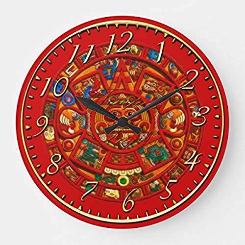prz0vprz0v Reloj de pared redondo decorativo de madera con calendario de sol maya, historia mexicana azteca