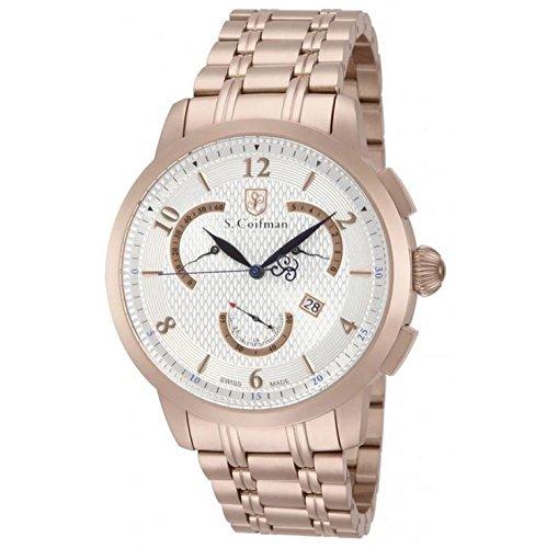 S.Coifman SC0239 Orologio da Polso, Display Display Cronografo, Uomo, Bracciale Acciaio Inox Placcato, Oro Rosa