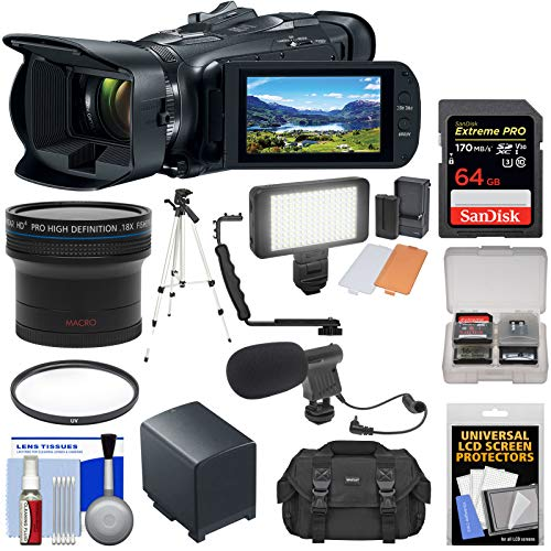 Canon Vixia HF G50 Wi-Fi 4K Ultra HD Video Camera Camcorder with Fisheye Lens + 64GB Card + Battery + Video Light + Mic + Case + Tripod + Filter Kit