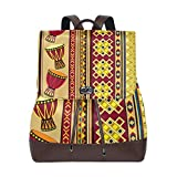 Flyup Women Leather African Drum Backpack Purse Travel Schoolbag Shoulder Bag Casual Daypack Mochila de cuero para mujer
