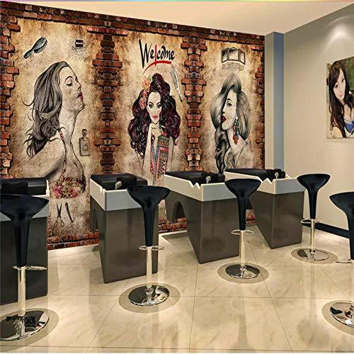 Fotobehang Behang Kapper Muurschildering Behang Kapsalon Kapselcentrum Industrieel Decor Cement Muur Bakstenen muur Achtergrond Behang 3D-430x300 cm (169,3 bij 118,1 inch) B