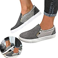 Rhinestone Gray Loafers PU Leather Sneaker Sport Shoes