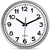 """Bernhard Products Wall Clock Silent Non-Ticking Large 12"""" Silver Metal Frame Quartz Battery Operated Easy to Read Office Classroom Kitchen Living Room Bathroom Sweeping Clocks, Black Modern Numbers"""