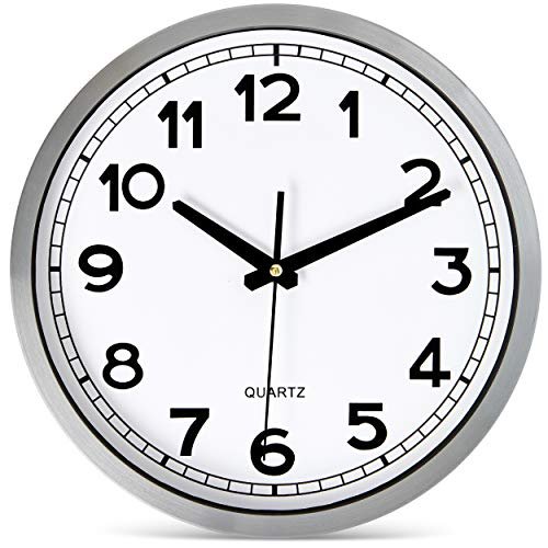 Bernhard Products Wall Clock Silent Non-Ticking Large 12 Silver Metal Frame Quartz Battery Operated Easy to Read Office Classroom Kitchen Living Room Bathroom Sweeping Clocks, Black Modern Numbers