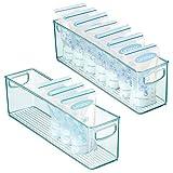 mDesign 2er-Set Kunststoffbox für Babynahrung – Aufbewahrungsbehälter mit Griffen – praktische Sortierbox für Muttermilchbeutel aus BPA-freiem Kunststoff – hellblau