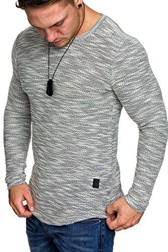 Amaci&Sons Oversize Vintage Herren Pullover Hoodie Sweatshirt Crew-Neck 6024 Grau XL