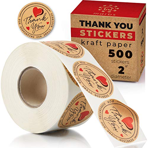 """2"""" Marbs Thank You Stickers - 500pcs Roll with Kraft Design - Water Resistant - Thank You for Supporting Our Small Business - Labels for Delivery, Decoration, Gifts, Packaging, Party, Christmas Gifts"""