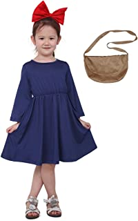 Kids Delivery Service Witch Cosplay Dress with Brown Bag for Little Girl