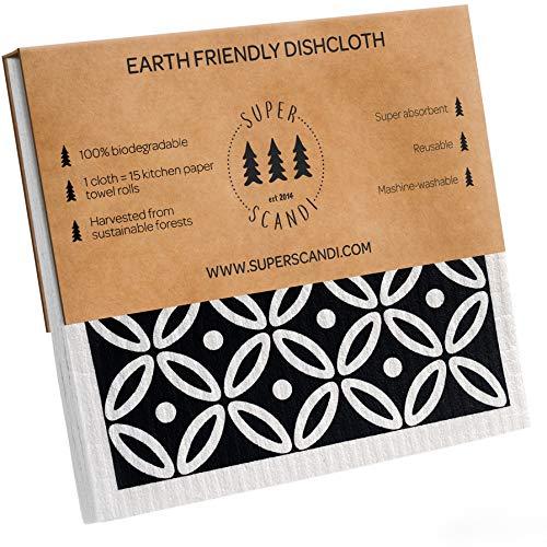 SUPERSCANDI Artdeco Schwamm-Reinigungstücher, Weiß auf Schwarz, 5 Stück (3 gemustert, 2 weiß), umweltfreundlich, wiederverwendbar, nachhaltig, biologisch abbaubar