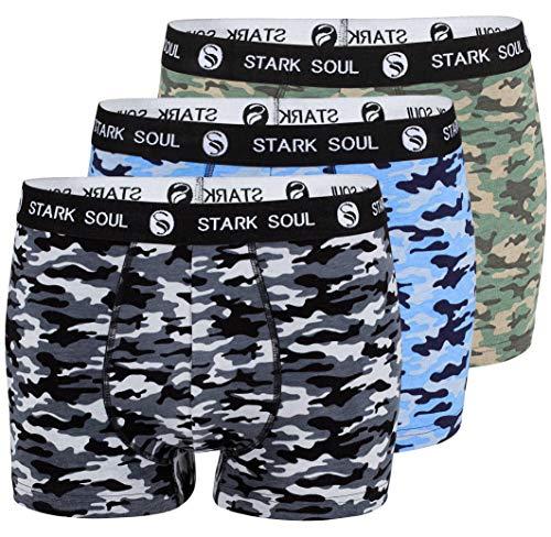 STARK SOUL Boxershorts Herren Camouflage 3'er Pack, Retroshorts, Hipster, Unterhosen, Boxer (L, Camouflage Schwarz-Grün-Blau)