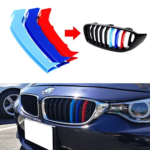 lanyun M Colors(red Blue Light Blue) Grille Insert Trims Decorate for BMW 2014-up F32 F33 F36 4 Series w/9-Beam Grill