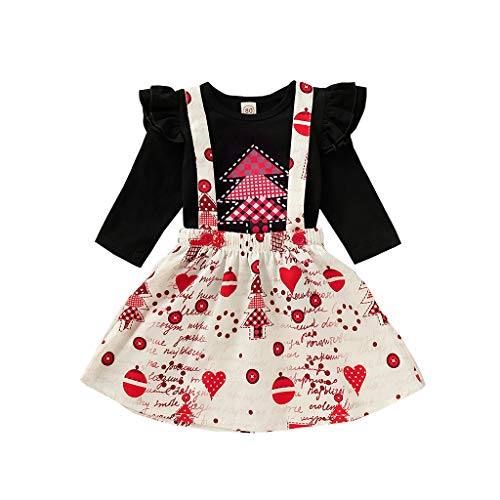 Fineday Outfits for Kids, Toddler Baby Girls Christmas Tree T-Shirt Tops+Cartoon Suspender Skirts Outfits, Girls Outfits&Set (Black 2-3 Years)