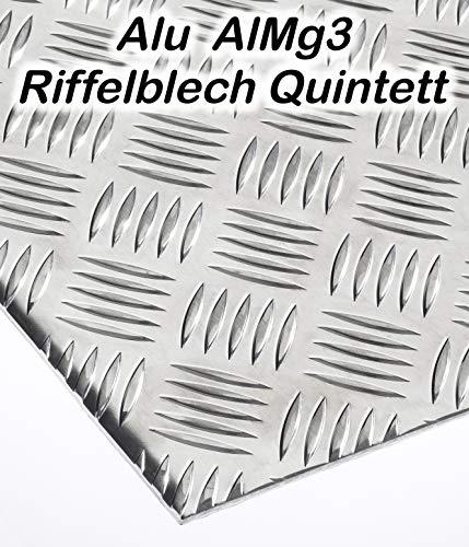 Alublech Riffelblech Quintett 2-4 mm 3,5-5 mm dick Aluminiumblech ALMg3 Zuschnitt inkl Folie, Größe nach Maß Alu Neu (1000 mm x 500 mm, 3,5-5 mm)