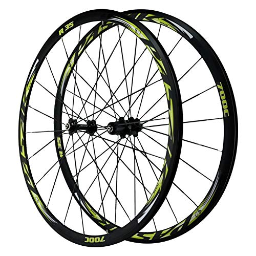 700C Ruedas de Bicicleta,Llanta de Aleación Aluminio de Doble Capa 4 Cojinetes Liberación Rápida Volante Inercia de 7/8/9/10/11/12 Velocidades (Color : Green, Size : 700C)