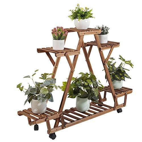 unho Estantería para Macetas con Ruedas, Soporte Plantas de Madera para Exterior Interior Jardín Balcón, Estante Decorativo de Flores, 91 x 25 x 81cm