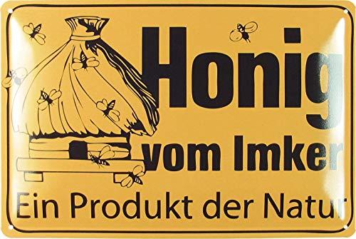 Blechschild 20x30cm gewölbt Honig vom Imker EIN Produkt der Natur Bienenzucht Deko Geschenk Schild