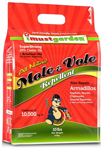 I Must Garden Mole & Vole Repellent: Professional Strength – Twice The Coverage – All Natural Ingredients - Pleasant Scent - 10lb