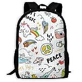 Messenger Bag,Daypacks,Morral Cotidiano,Casual Mochila,Bandolera,Set-Colorful-Doodle Women & Men Durable Casual Daypack para La Escuela Negocios Camping Running Ciclismo Senderismo