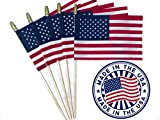 Andi & Nic Creations Set of 12, Proudly Made in The USA Small American Flags 4x6 Inch/Small US Flag/Mini American Stick Flag/Hand Packaged American Stick Flags with Spear Top