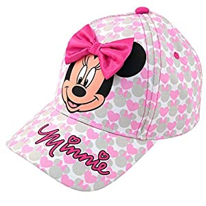 Disney Girls Minnie Mouse Cotton Baseball Cap with 3D Bowtique Bow (Ages 2-7)