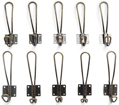 Heavy Duty Rustic Entryway Hooks - 10 Pack of Wall Mounted Vintage Double Coat Hangers with Four Extra Long Bronze Metal Screws Included