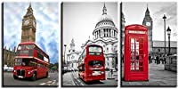 London Classic Mini Red Phonebox Red and Bluecanvas Wall Art Picture Print Home Decor B XXL-X-Large_A Upgrade
