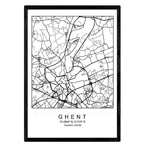 Nacnic Lámina Mapa de la Ciudad Ghent Estilo nordico en Blanco y Negro. Poster tamaño A3 Sin Marco Impreso Papel 250 gr. Cuadros, láminas y Posters para Salon y Dormitorio