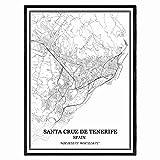 Santa Cruz de Tenerife España Mapa de pared arte lienzo impresión cartel obra de arte sin marco moderno mapa en blanco y negro recuerdo regalo decoración del hogar