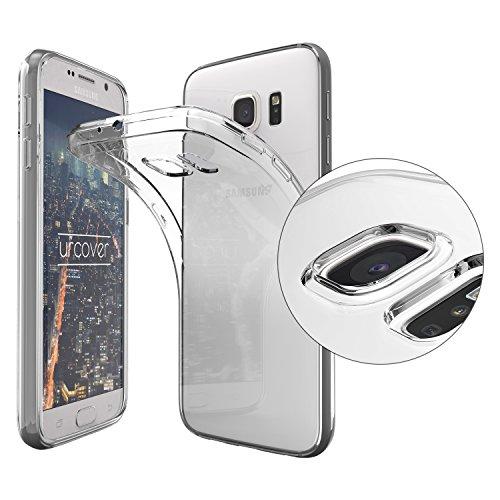 Urcover Funda Compatible con Samsung Galaxy S6 Carcasa Protectora Trasero Protector de Cámara Cover Silicona Ultra-Delgada Suave Back Case - Negro Transparente