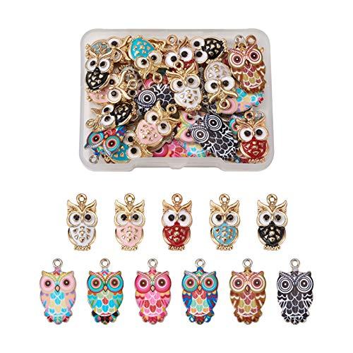 Beadthoven 33pcs 11 Styles Owl Enamel Charms Cute Bird Animal Lucky Dangle Pendants for Jewelry Crafts Making Earrings Bracelets Necklace