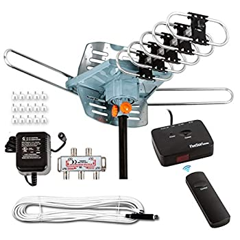 Five Star [Newest 2020] HDTV Antenna Amplified Digital Outdoor Antenna 150 Miles Range 360 Degree Rotation Wireless Remote with 40FT Coax Cable Installation Kit Supports 5 TVs