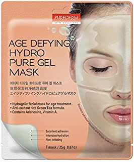 Purederm Anti-Wrinkle Face Mask: Best 5-Pack Sheet Anti-Ageing Facial Mask With Adenosine/Best Cleansing, Hydrating, Brightening Hydrogel Mask To Tighten Pores, Prevent Wrinkles, Replenish Skin